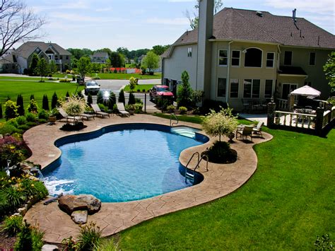 backyard pool landscaping ideas pool town nj inground swimming pools with pool landscaping