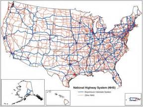United State Road Map by Map Attack National Highway System United States