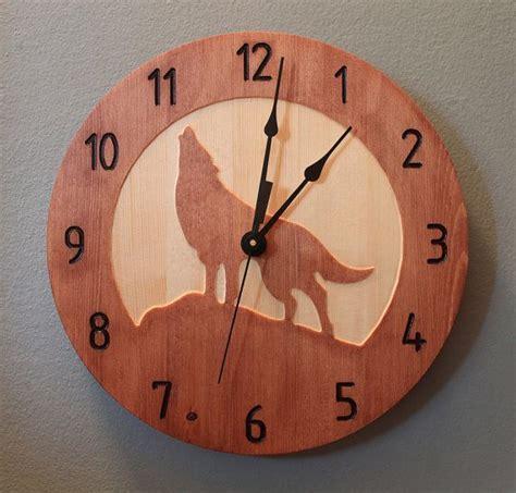 wood clock designs pine wolf clock wood clock wall clock nature clock wooden