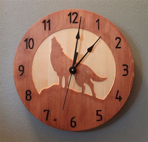 wolf clock wood clock nature clock wooden