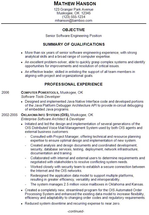 sle resume for experienced software engineer in java resume sle for a senior software engineer susan ireland resumes