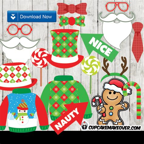 printable ugly sweater photo booth props ugly sweater christmas photo props decoration ideas