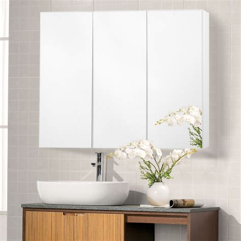 3 door mirrored bathroom cabinet 36 quot wide wall mount mirrored bathroom medicine cabinet