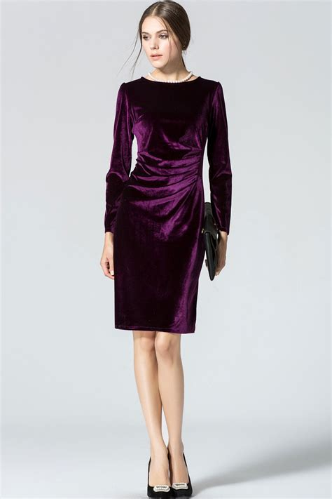 Sleeve Velvet Dress kettymore womens sleeved neck slim velvet