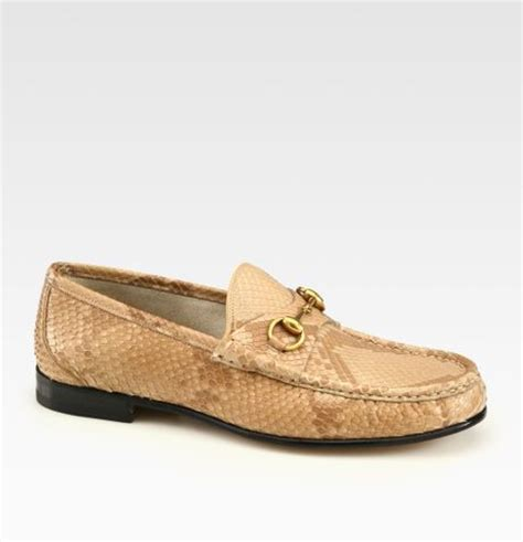green gucci loafers gucci green python horsebit loafers in khaki for