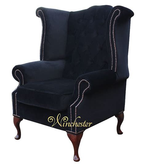 high back chesterfield sofa chesterfield fabric high back wing chair black