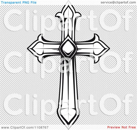 clipart black and white heraldic cross royalty free