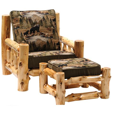 log couches cedar log frame lounge chair and ottoman