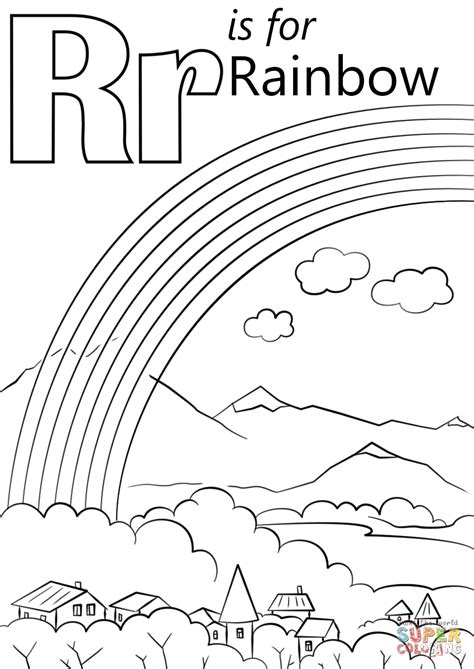 R Is For Rainbow Coloring Page by Letter R Is For Rainbow Coloring Page Free Printable