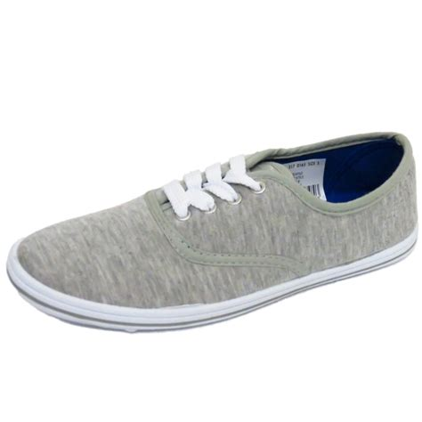 lace up grey canvas flat trainer plimsoll pumps