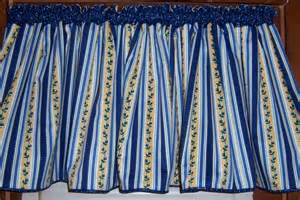 Blue And Yellow Kitchen Curtains Decorating Sale Wide Blue Yellow White Striped Kitchen Valance Free