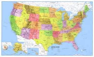 world usa classic laminated wall map poster set