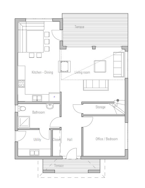 small house plan with high ceiling and large windows