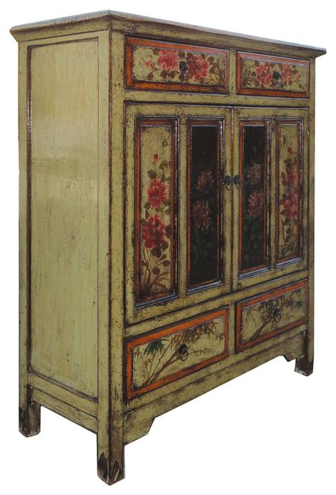 China Storage Cabinets antique flower painting side storage cabinet