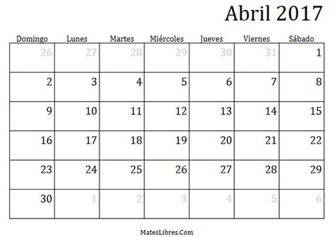 calendario d abril asignacion 2017 calendario abril 2017 calendario 2017