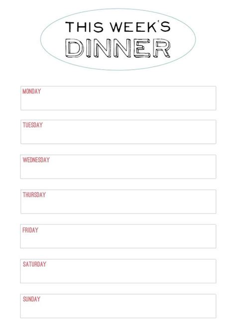 free menu templates for dinner printable menu template to make the planning of next