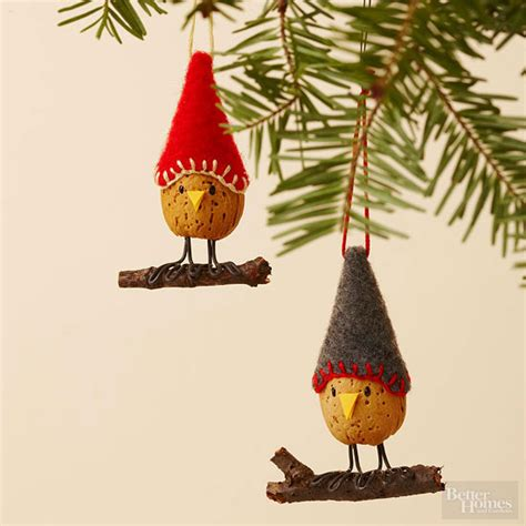 make an almond bird christmas ornament from better homes