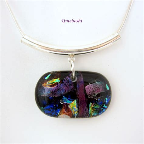 Handmade Glass Pendants - color symphony handmade dichroic fused glass pendant with