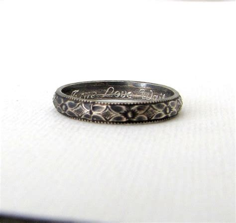 silver purity ring floral promise ring antique silver posey