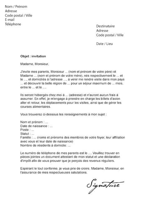 Lettre De Remerciement Pour Un Visa lettre d invitation visa parent ou client mod 232 le de lettre