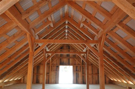 inside barn post and beam construction by vermont timber works inc