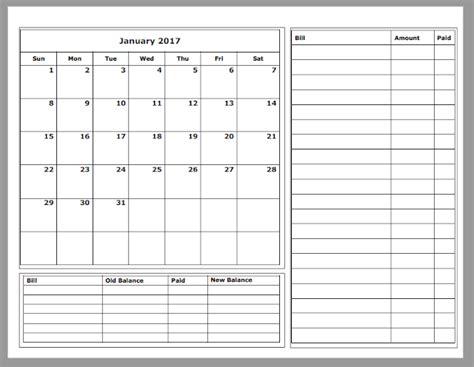 Budget Calendar Template 2017