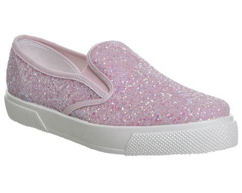 Kickers Slipon 15 womens office kicker slip on trainers pink glitter flats ebay