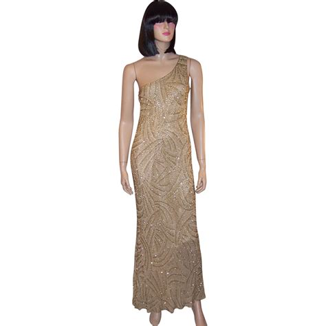 chagne beaded gown sleek sultry silk chagne colored ii beaded