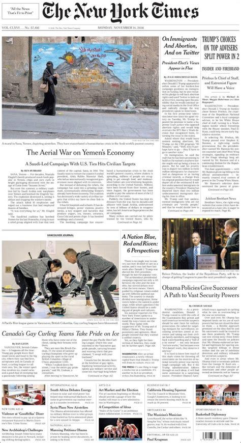 New York Times Mba Internship by Portadas De Los Medios Nacionales E Internacionales