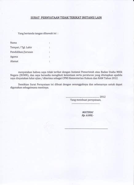 membuat surat keterangan sehat untuk cpns contoh surat lamaran dan surat pernyataan cpns kemenkumham