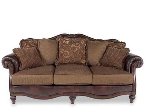 und sofas traditional 91 quot rolled arm sofa in brown mathis brothers