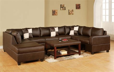 u shaped leather sectional 3 pc reversible u shaped sectional sofa in bonded walnut