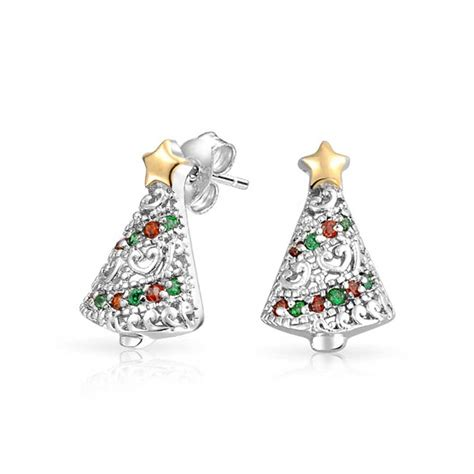 red green heart cz christmas tree holiday stud earrings