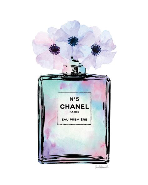 Parfum Chanel Pink chanel watercolor bottle with poppies mint pink by