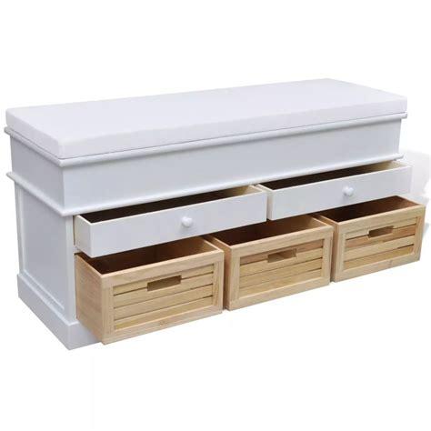 banc tiroir la boutique en ligne banc de rangement avec 3 cagettes et 2 tiroirs coussin inclus vidaxl fr