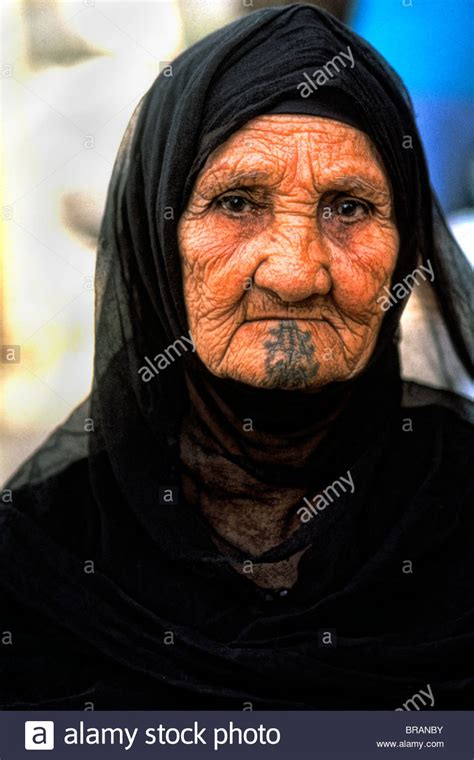 muslim face tattoo old muslim woman portrait in traditional clothes and