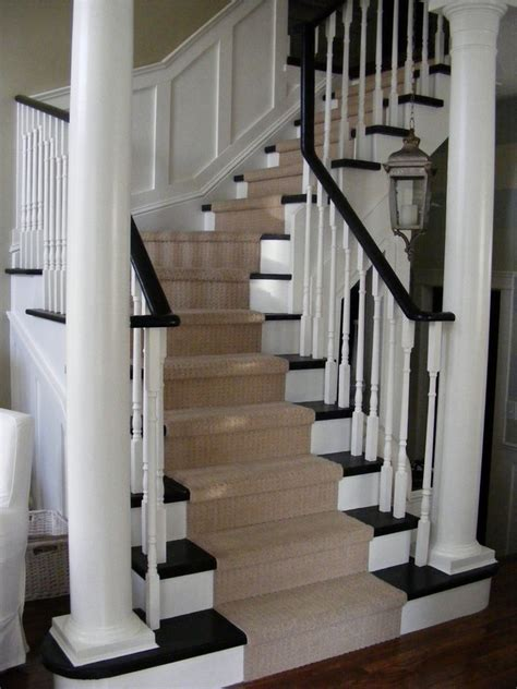 stair runner carpet staircase traditional with black and