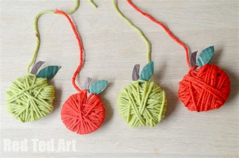 easy yarn crafts for yarn apple craft garland ted s