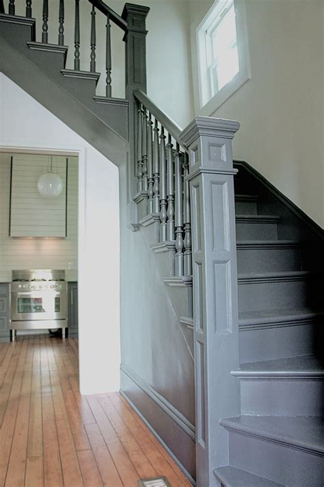 make king modern farmhouse staircase painted charcoal stairs grey