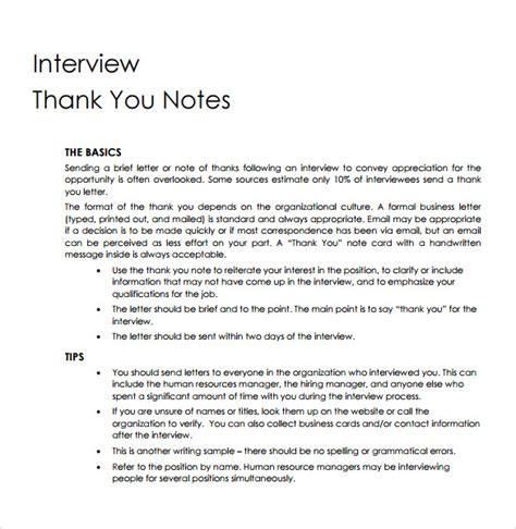 thank you letter after with human resources sle professional thank you notes 7 documents in pdf word
