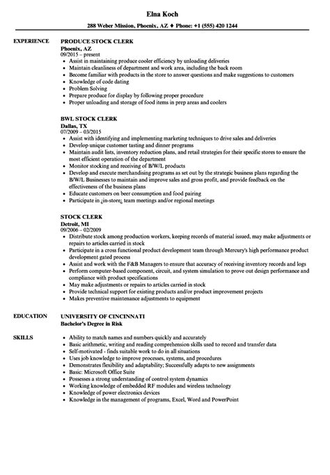 Stock Clerk Resume by Stock Clerk Resume Sles Velvet