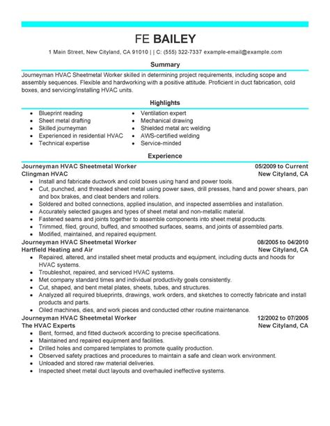 Sheet Metal Worker Cover Letter by Journeymen Hvac Sheetmetal Workers Resume Exles Construction Resume Sles Livecareer