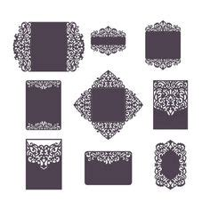 Elisya Set 6 set laser cut wedding invitation templates card envelope