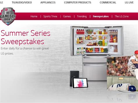 Lg Refrigerator Sweepstakes - the lg electronics summer series sweepstakes