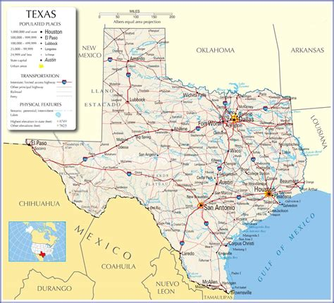 texas usa map texas map of cities images