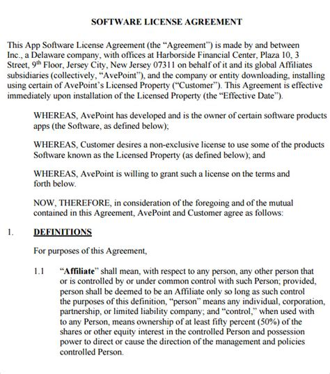 free software license agreement template software license agreement 7 free pdf doc