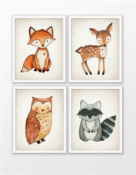 libro woodland craft woodland watercolor animals nursery prints set of 4 fox deer owl raccoon playroom decor