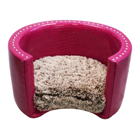 pink dog beds small round pet bed hot pink vinyl shaggy frosted tan