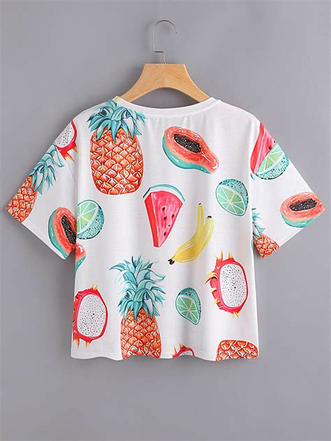 fruit t shirt allover fruit print t shirt shein sheinside