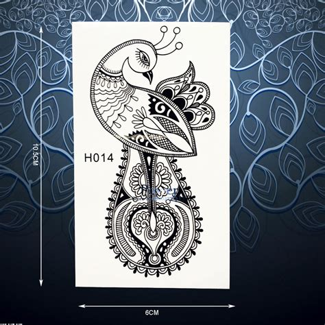 henna tattoo artist phoenix charms peacock temporary sticker for